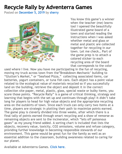 Recycle Rally by Adventerra Games North America is a 2019 PAL Award winner!
