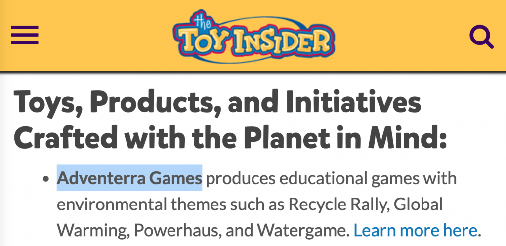 The Toy Insider recognized Adventerra Games as well as other toy companies