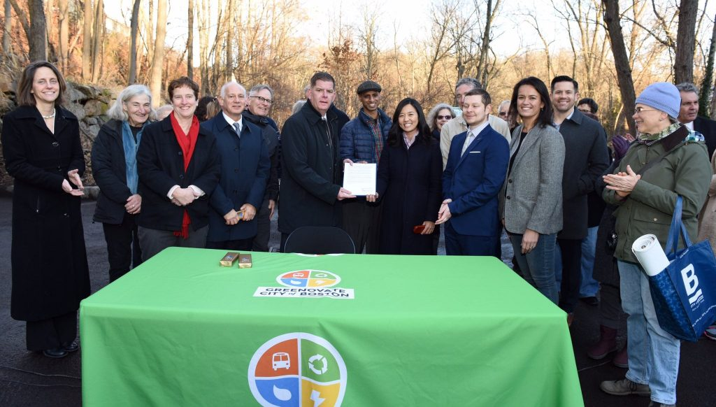 Photo of Kannan and other environmentalists and local leaders at the signing ceremony for Boston's local wetlands ordinance
